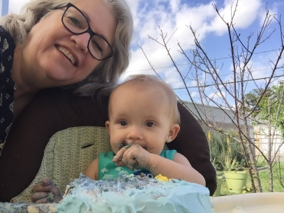 2018-3-24 Abby's 1st Birthday Party 18 - Cindi & Abby with Cake