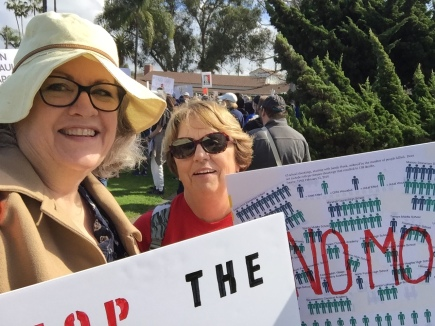 2018-3-24 AM March for Our Lives, Huntington Beach 5 - Enid & Cindi Ready to March