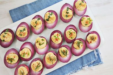 Image result for purple deviled eggs